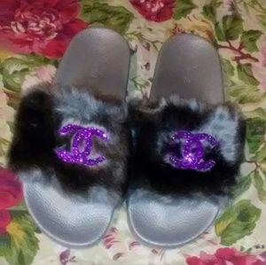Hand Customized Chocolix Chicks Fur Slippers